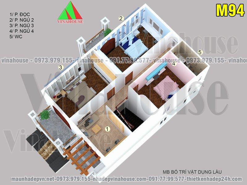 Bản vẽ mặt bằng tầng 2 biệt thự 2 tầng