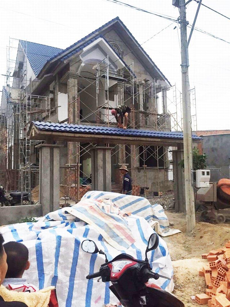 Hình ảnh thi công thực tế mẫu biệt thự đẹp tương tự của anh Dũng ở Lâm Đồng