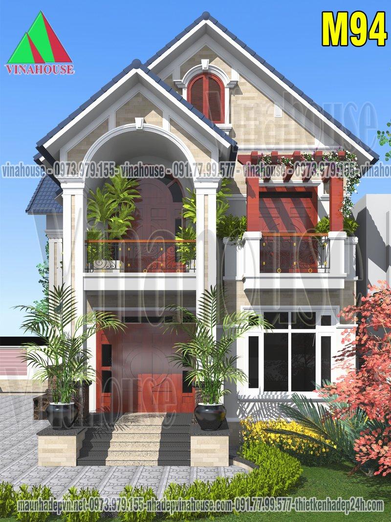 mẫu biệt thự 2 tầng đẹp mái thái 4 phòng ngủ 8x13