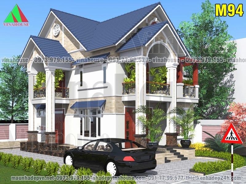 Biệt thự vườn mái thái 2 tầng 8x13 có 4 phòng ngủ ở Vĩnh Phúc