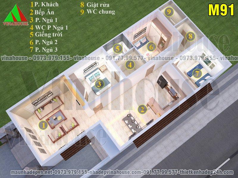 Bản vẽ nhà cấp 4 3 phòng ngủ 7x16