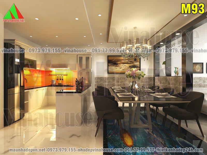 Phòng bếp ăn nhà gác lửng hiện đại