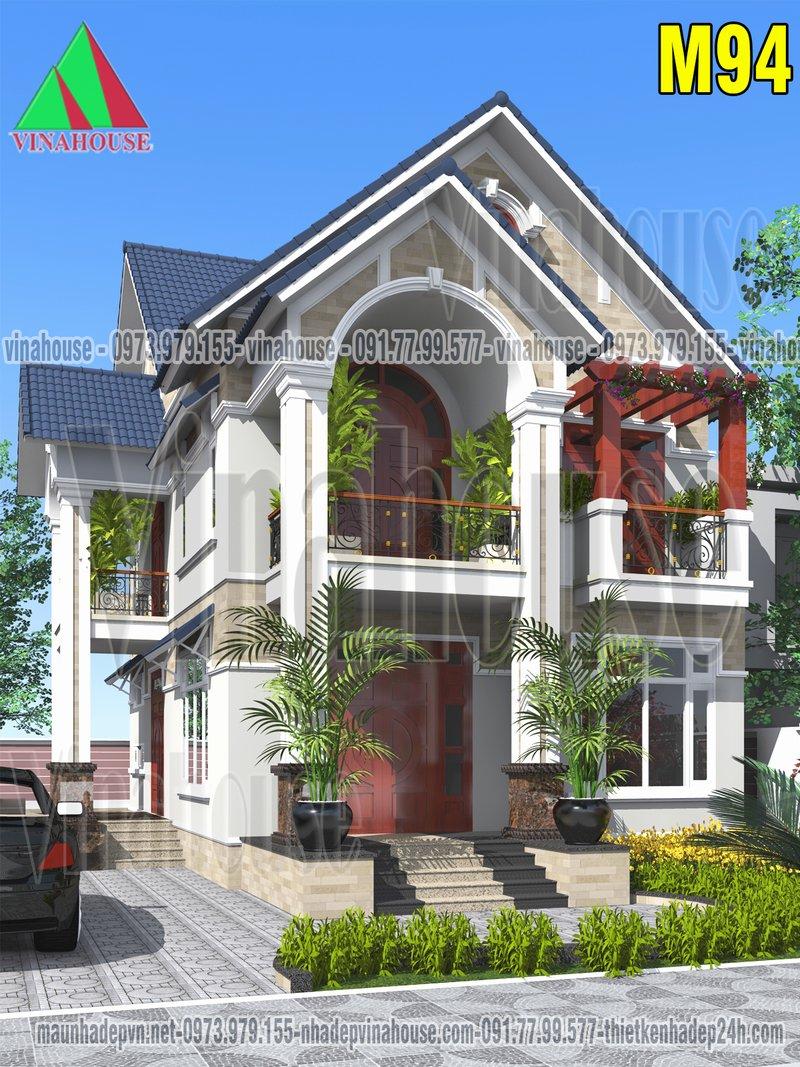 Biệt thự đẹp mái thái 2 tầng ở vĩnh phúc