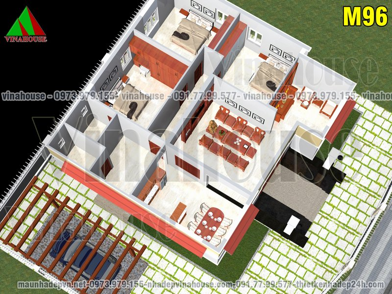 Mặt bằng nhà cấp 4 có 3 phòng ngủ 12x14
