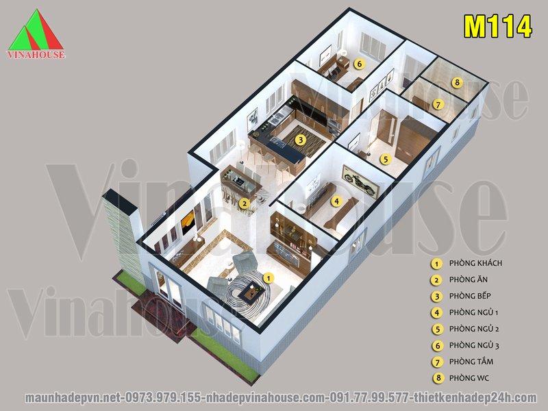 Mặt bằng 3D nhà cấp 4 mái thái 3 phòng ngủ