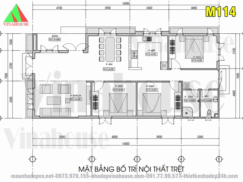 Bản vẽ mặt bằng nhà cấp 4 mái thái 3 phòng ngủ 7x16