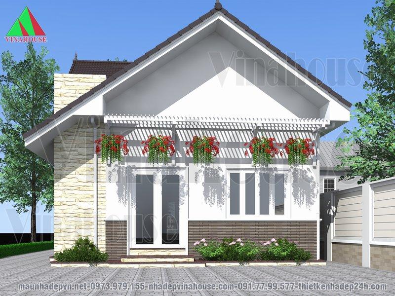 Mặt tiền nhà mái thái kiểu mỹ