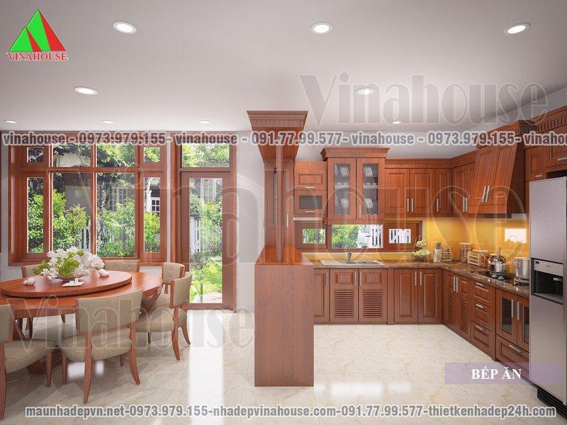 Tủ bếp làm bằng gỗ tự nhiên có quầy bar