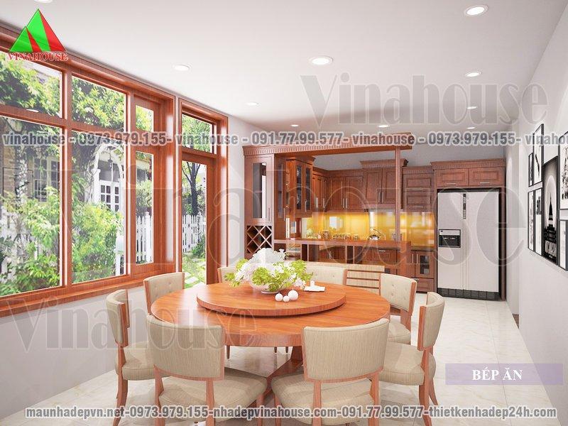 Phòng bếp ăn thoáng và đầy ánh sáng tự nhiên