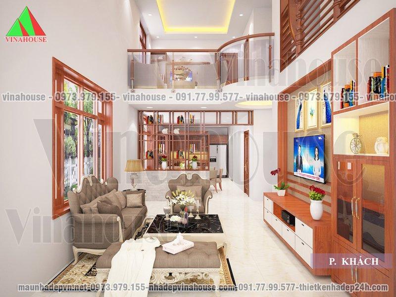 Phòng khách đẹp thông tầng
