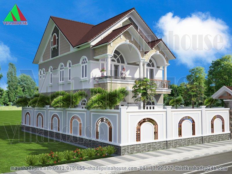 Biệt thự nhà vườn đẹp kiến trúc mái thái