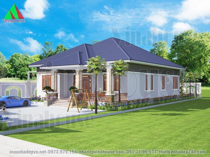 Biệt thự vườn đẹp mái thái 4 phòng ngủ anh Dũng Gia Lai