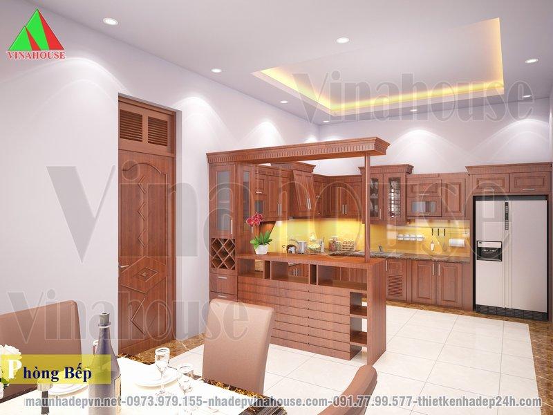 Tủ bếp gỗ tự nhiên, có quầy bar hiện đại