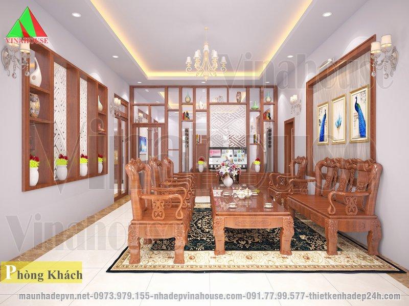 Phòng khách sử dụng bàn ghế gỗ, ngăn cách với phòng sinh hoạt chung bằng vách kính