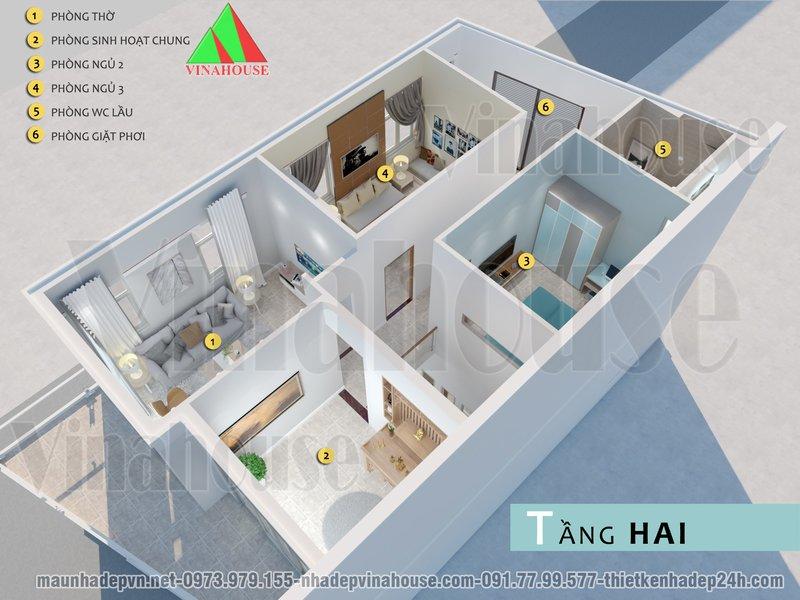 Bản vẽ mặt bằng 3D tầng 2