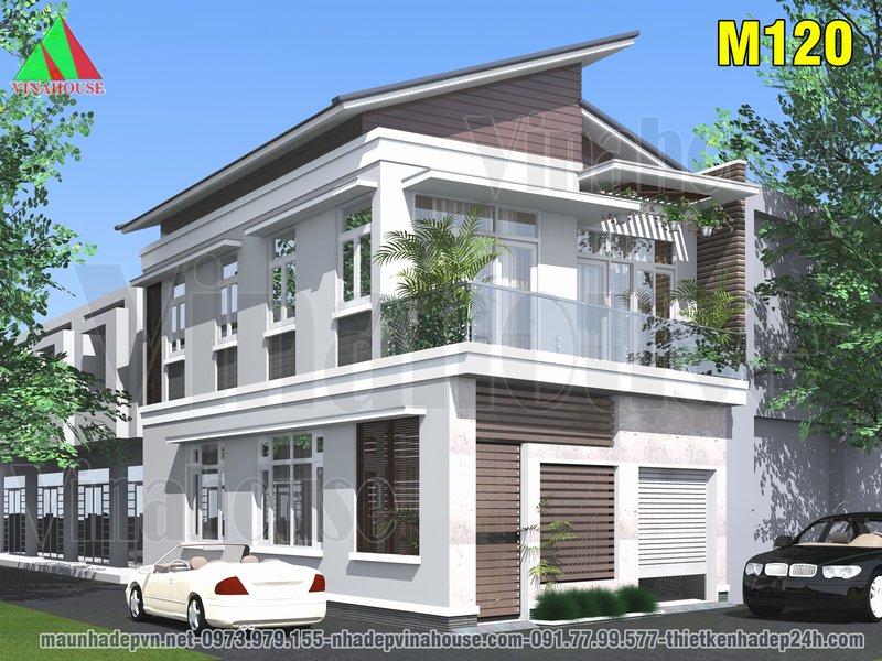 Nhà 2 tầng 2 mặt tiền hiện đại mái lệch ở Nha Trang