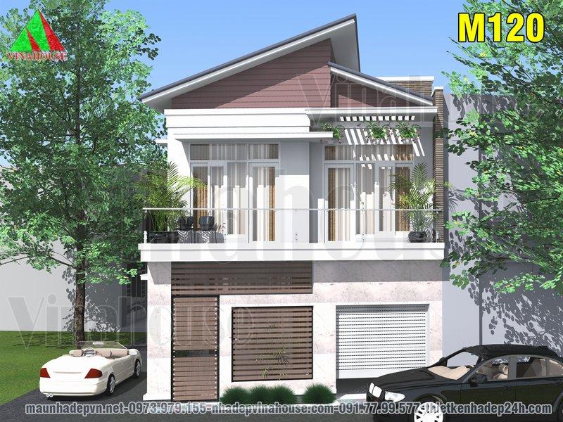 Nhà 2 tầng mái lệch mặt tiền hiện đại đẹp