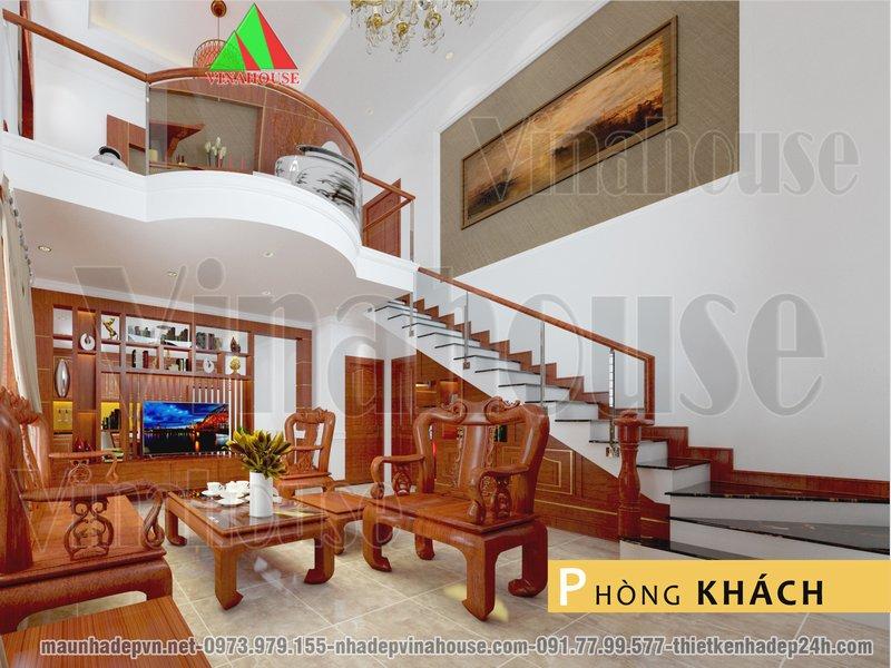 Phòng khách cao và thoáng sử dụng cầu thang kẹp biên