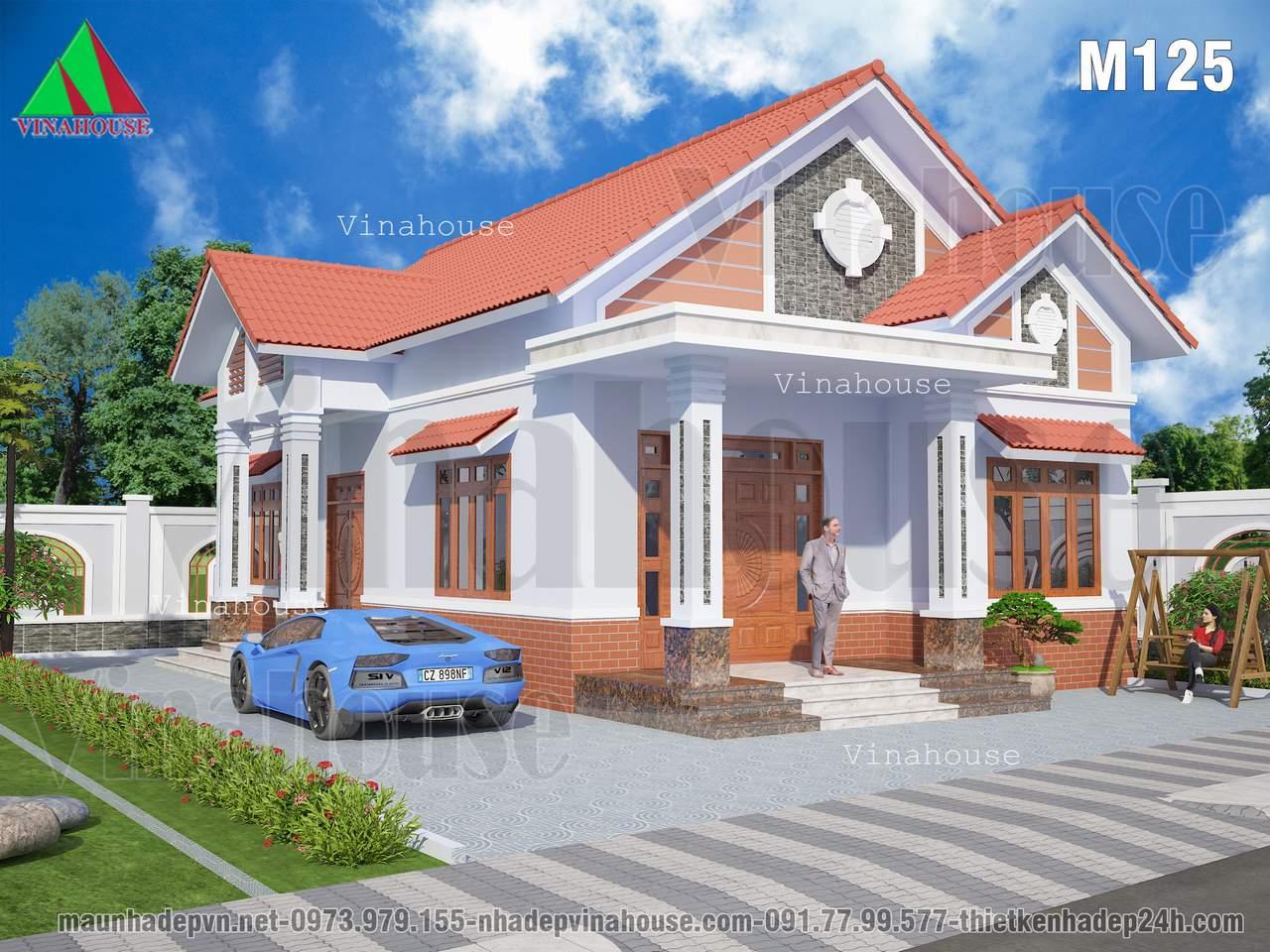 Nhà cấp 4 mái thái đẹp ở nông thôn ngói màu đỏ cửa gỗ