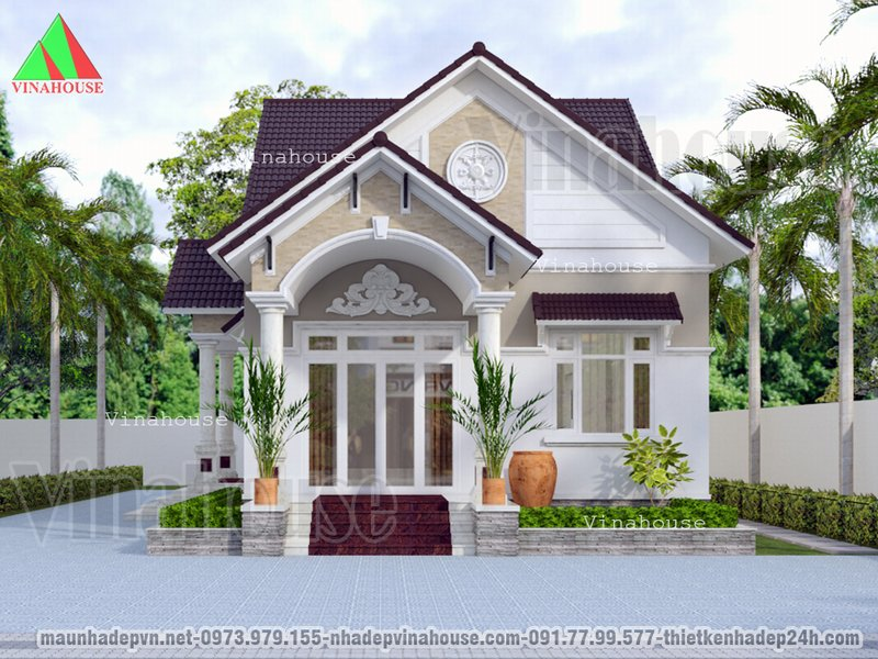 Hình ành 3D mẫu nhà đẹp cấp 4 10x20