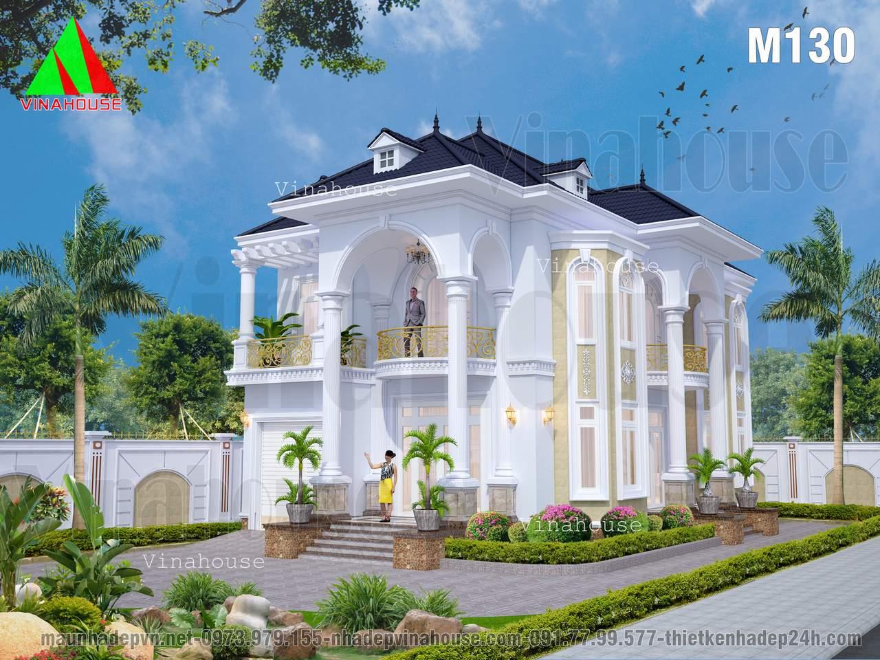 Thiết kế biệt thự đẹp 2 tầng 2 mặt tiền cổ điển