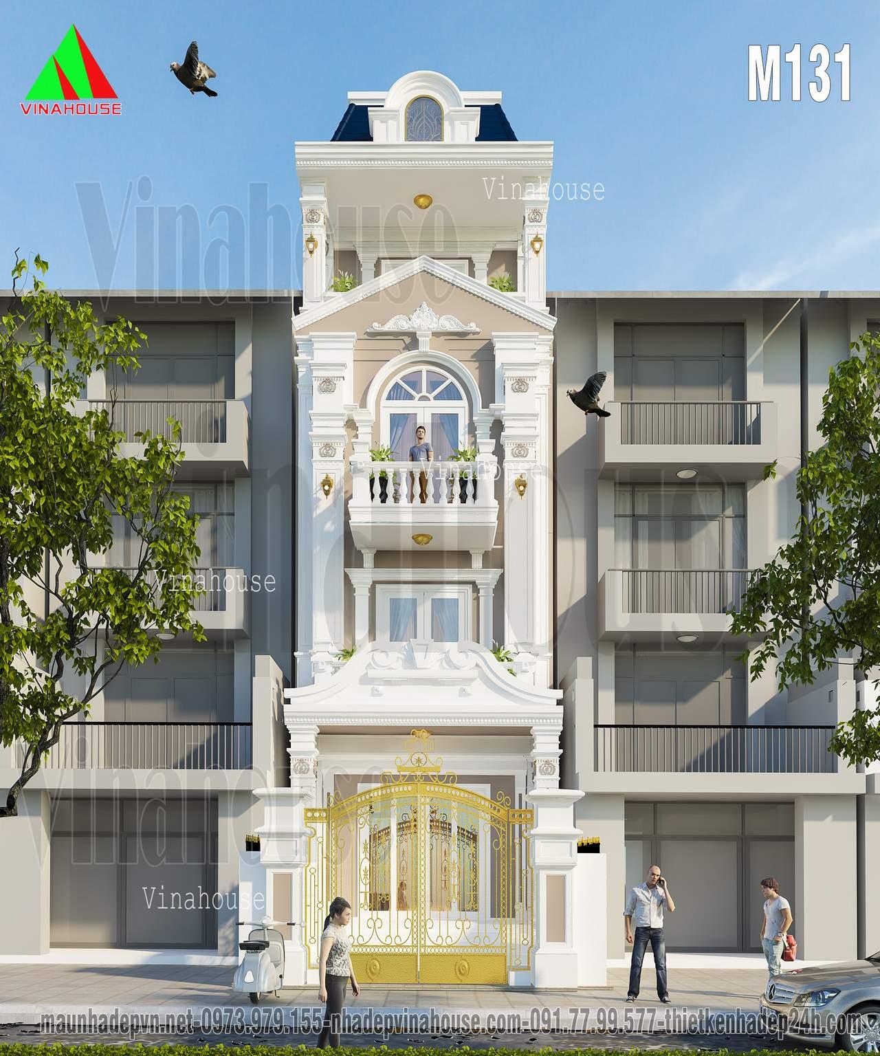 Nhà phố cổ điển 4 tầng đẹp 5x16