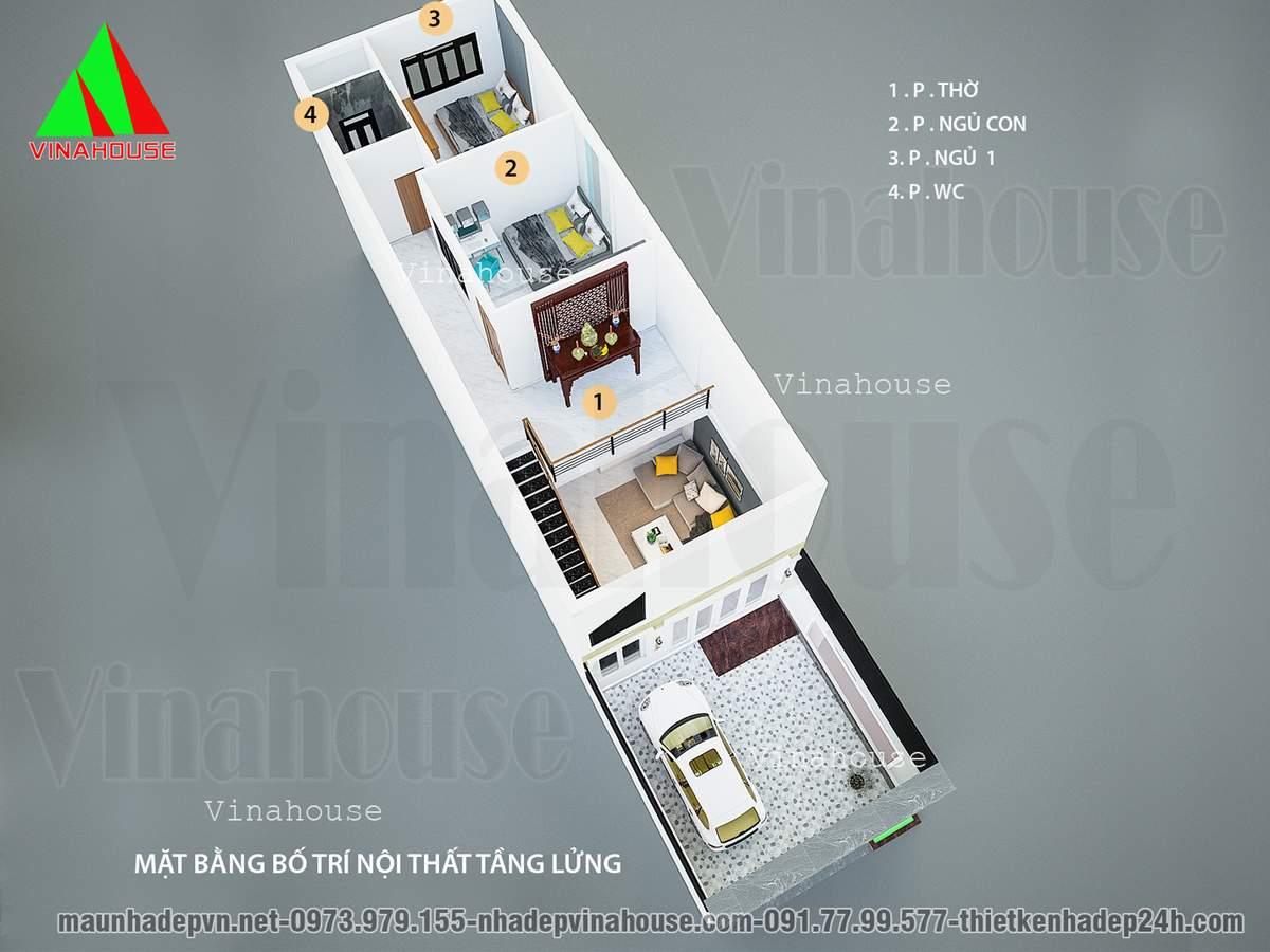 Mặt bằng tầng lửng có 2 phòng ngủ