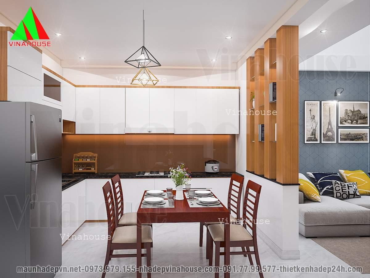 Phòng bếp ăn gọn gàng hiện đại