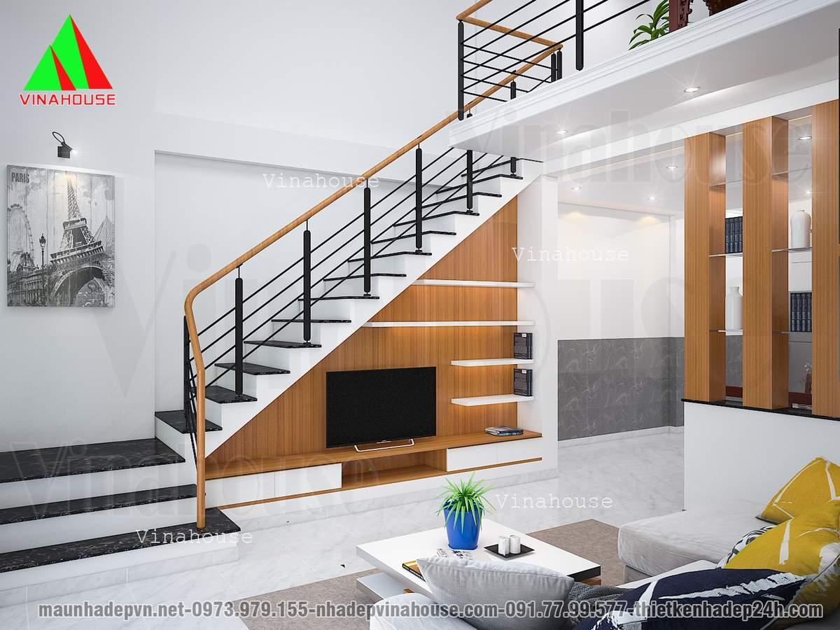 Cầu thang kẹp biên tiết kiệm diện tích
