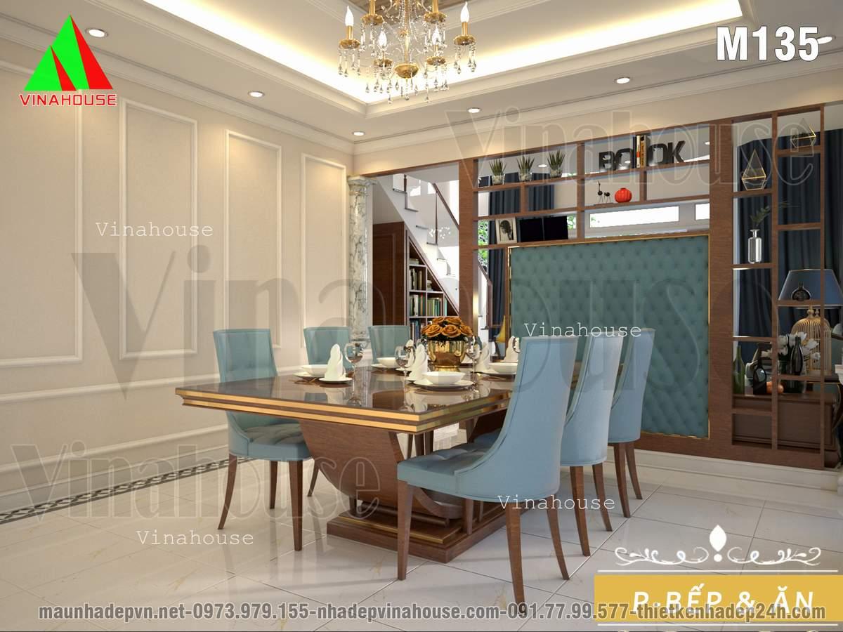 Phòng ăn ngăn cách phòng khách bằng vách tivi