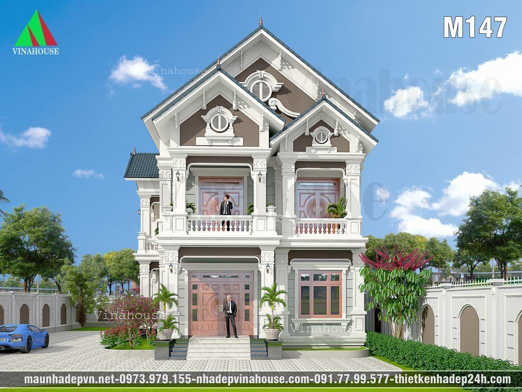 Biệt thự cổ điển đẹp 2 tầng mái thái 9x18 anh Bản ở Bình Phước
