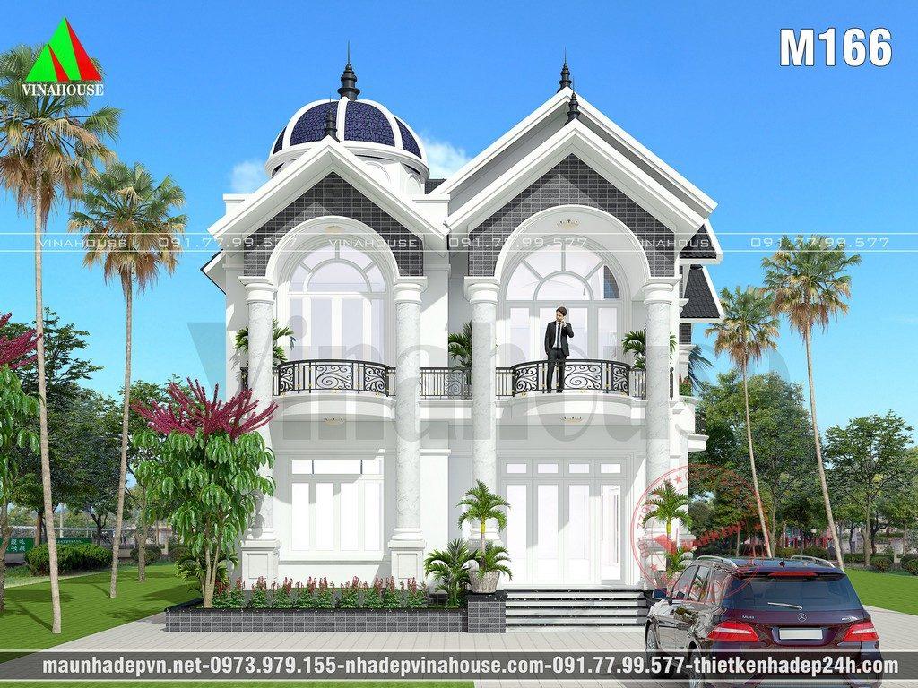 Biệt thự đẹp 2 tầng 10×18 được thiết kế cho gia đình cô Hiền trên khu đất vườn rộng ở Bình Dương. Mẫu nhà 2 tầng đẹp kiến trúc mái thái có chóp vòm trang trí dạng lâu đài kết hợp tường sơn tông màu trắng, điểm nhấn màu nâu đen cho biệt thự thêm sang trọng. Công năng sử dụng bên trong được bố trí theo yêu cầu gia đình đáp ứng cầu sinh hoạt của các thành viên mời các gia đình tham khảo.