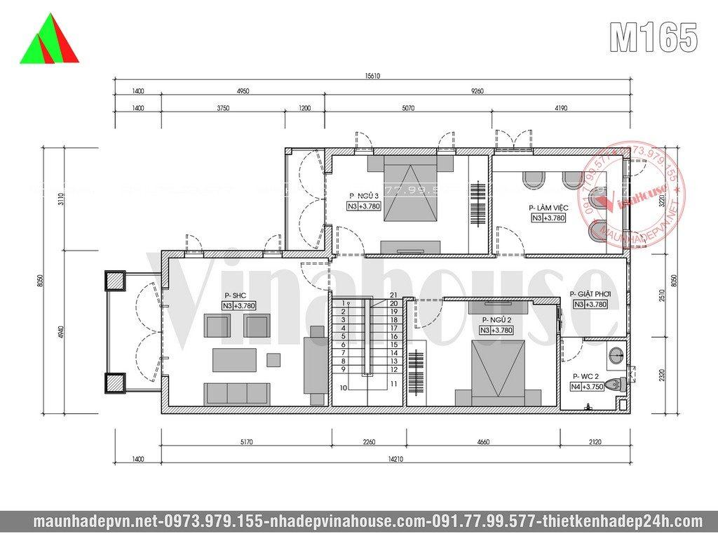 Ở tầng 2 được bố trí phòng thờ kết hợp phòng sinh hoạt chung gióng ngay trên phòng khách, có 2 phòng ngủ thường được bố trí hợp lý, 1 phòng làm việc lớn có thể chuyển đổi thành phòng ngủ nếu sau này gia đình có nhu cầu. Cuối góc nhà là 1 nhà vệ sinh và khu giặt phơi.