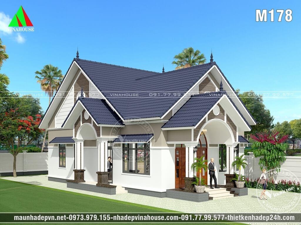 Phương án thiết kế ban đầu nhà cấp 4 đẹp với mái sảnh vòm