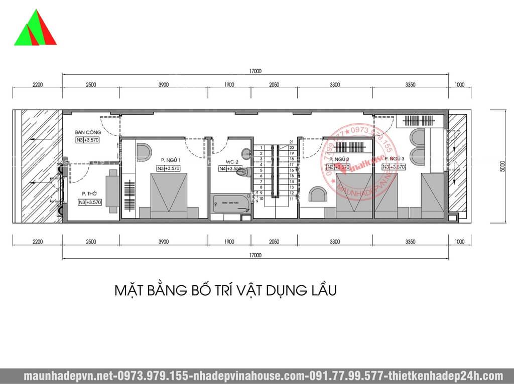 Bản vẽ mặt bằng tầng lầu 5x20 có 3 phòng ngủ
