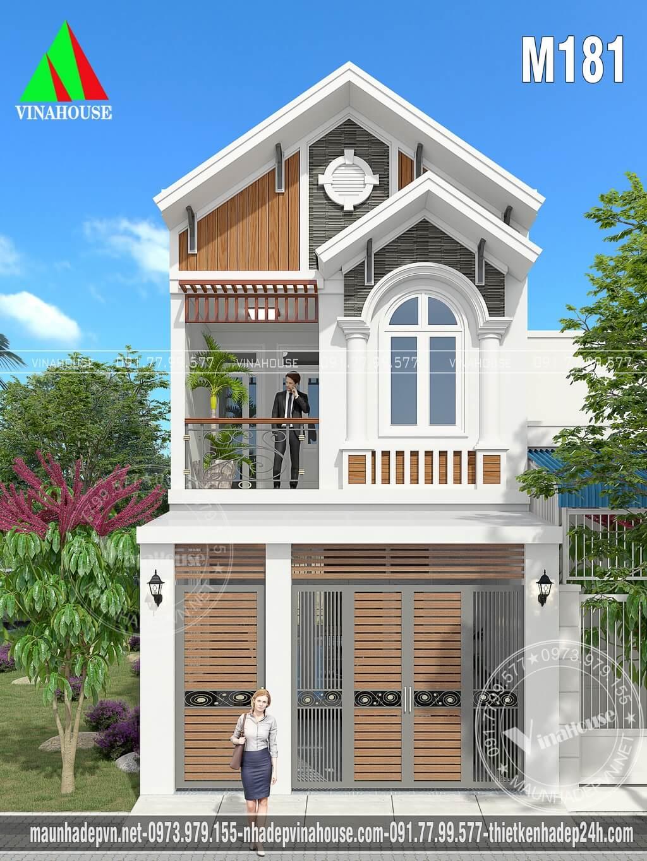 Nhà phố 2 tầng đẹp mái thái