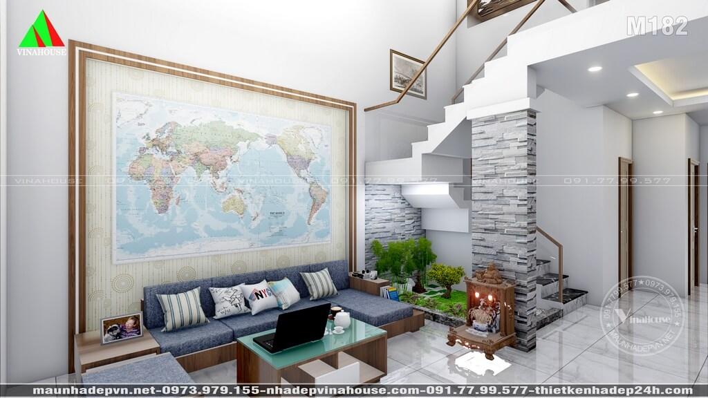 Phòng khách đẹp, cầu thang tiểu cảnh khô