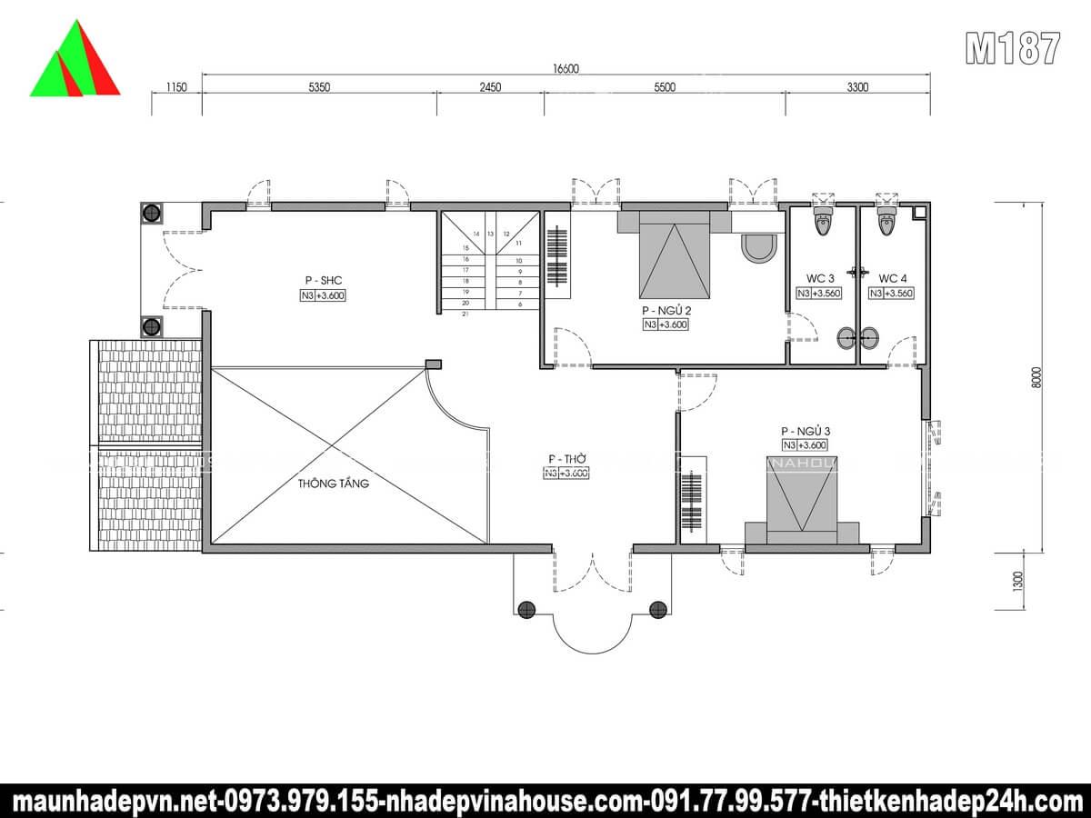 Bản vẽ mặt bằng tầng lầu biệt thự 8x17