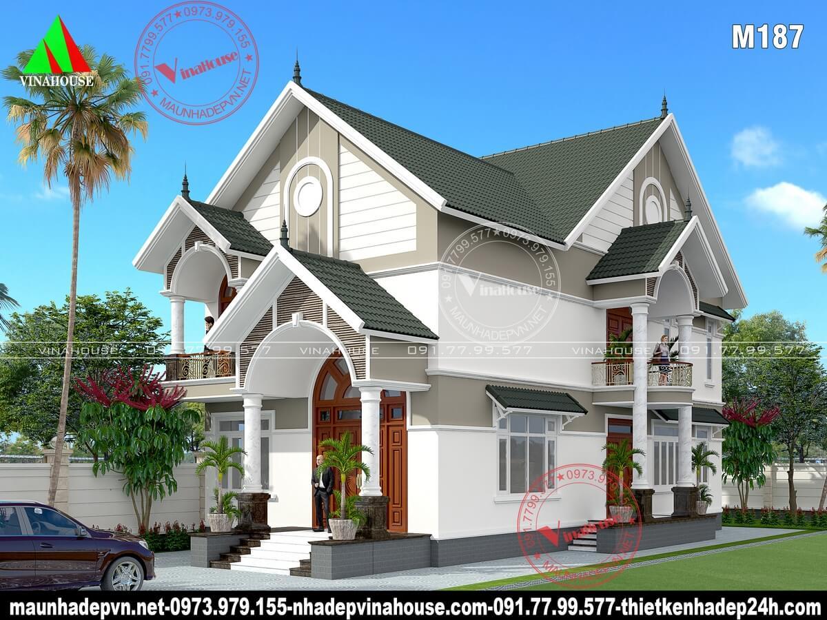 Thiết kế biệt thự 2 tầng mái thái đẹp ở Bà Rịa M187