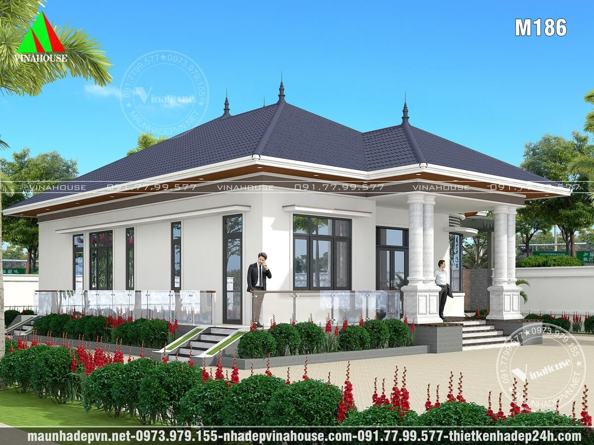 Biệt thự nhà vườn mái thái 1 tầng đẹp