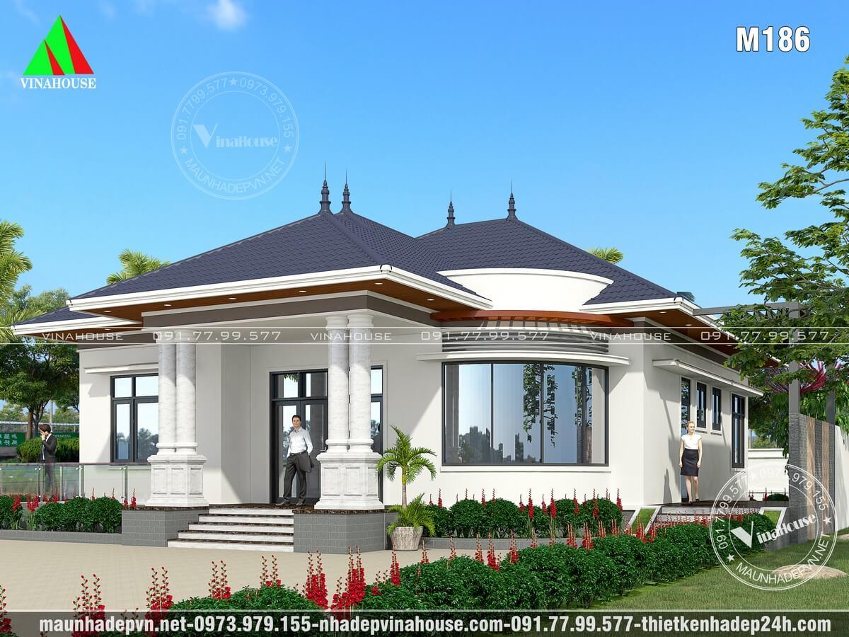 Nhà vườn mái thái 1 tầng đẹp M186