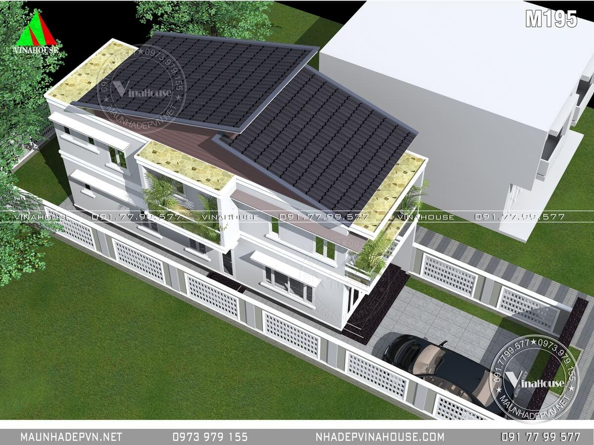 Hình ảnh tổng thể, phần sau mái đổ bê tông để bồn nước và năng lượng mặt trời