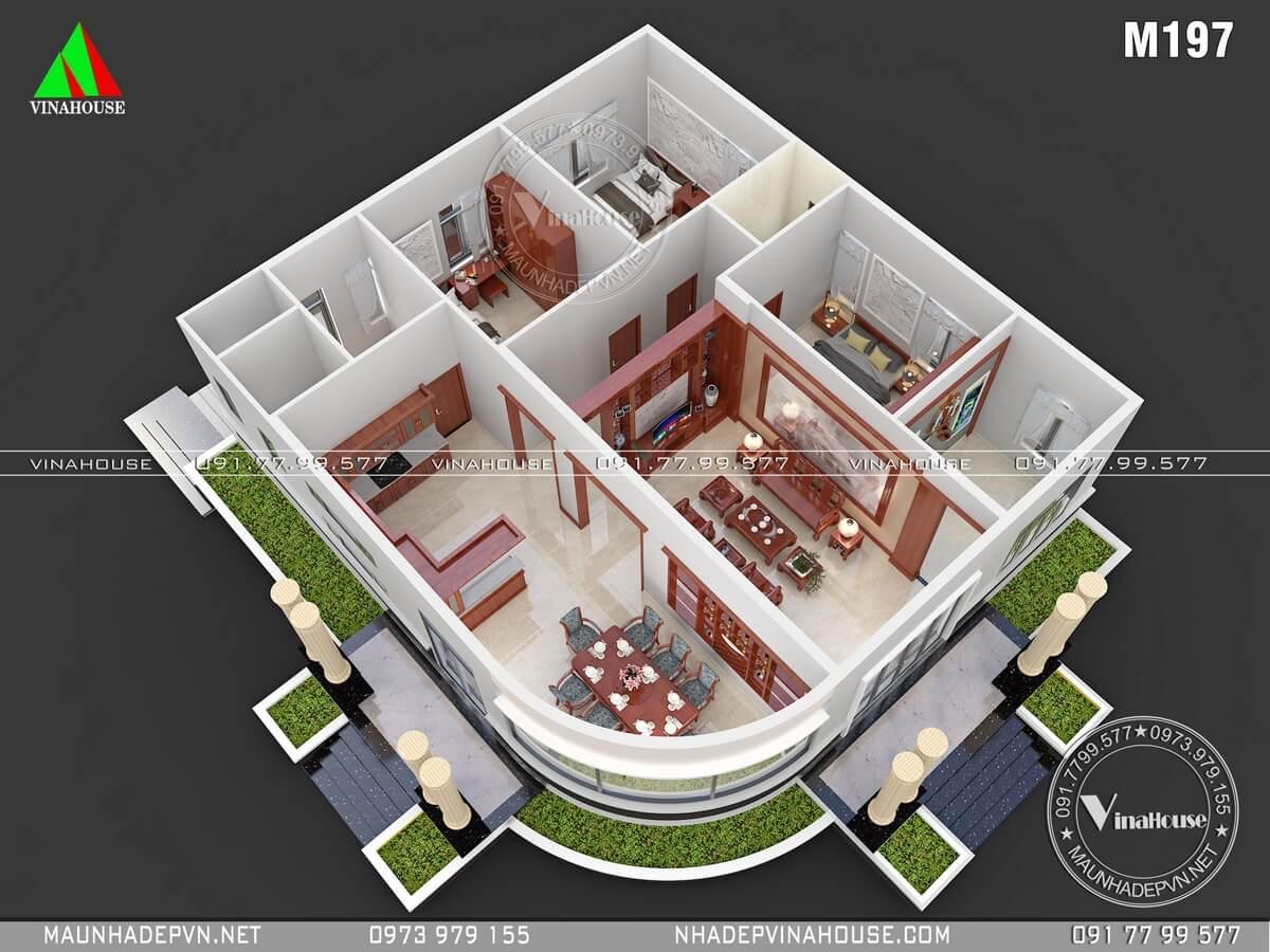 Bản vẽ mặt bằng bố trí 3D nhà cấp 4 3 phòng ngủ
