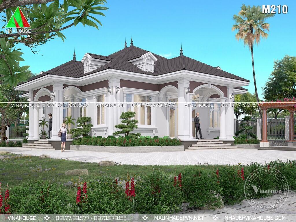 Nhà vườn 1 tầng 4 phòng ngủ mái nhật tân cổ điển