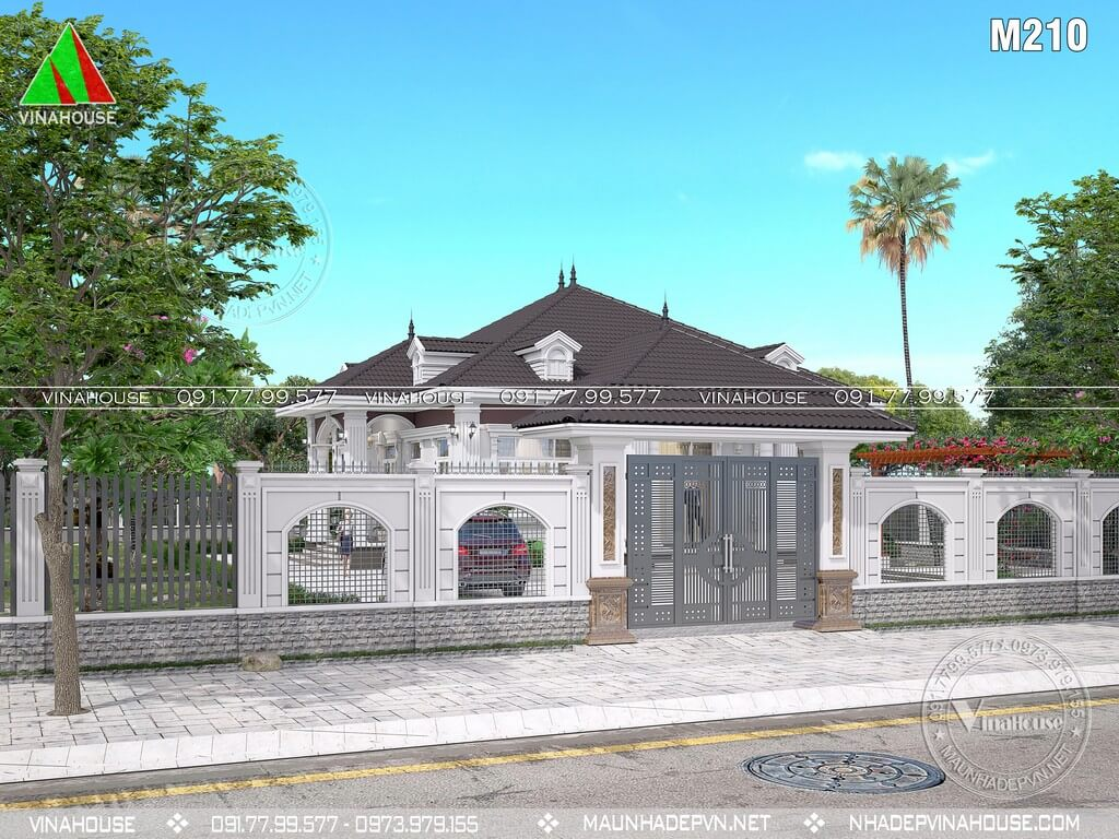 Cổng hàng rào bản vẽ nhà vườn 1 tầng đẹp ở Tây Ninh