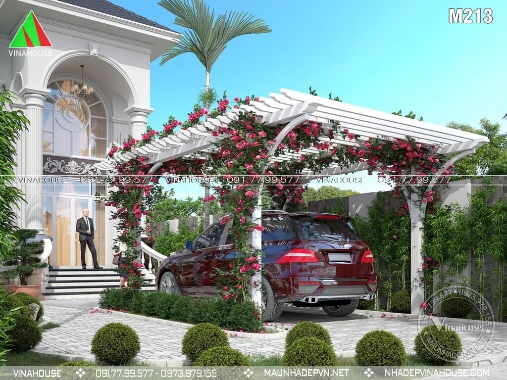 Dàn hoa vừa trang trí vừa là chỗ để xe hơi