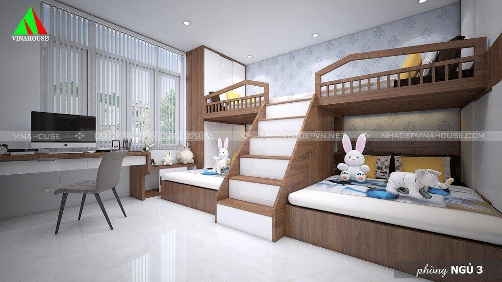 Phòng ngủ 3 thiết kế giường tầng dành cho con cái