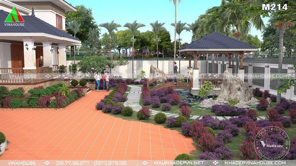 Sân vườn biệt thự bố trí chòi nghỉ