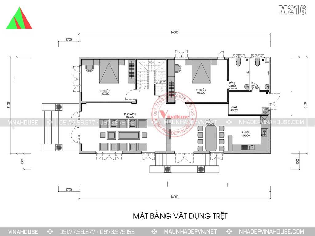 bản vẽ mặt bằng tầng trệt biệt thự 2 tầng 8x16