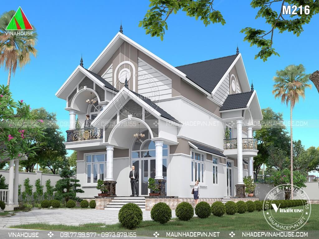 Biệt thự mái thái đẹp 2 tầng ở Tây Ninh